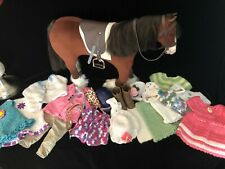 American Girl Doll horse with riding outfit and other knitted clothing (tack in)