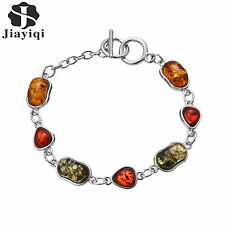 Women Red Resin Charms Jewelry Cool Punk Stainless Steel Chain Bracelet Femme