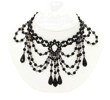 #6 Gothic Victorian Burlesque Elegant Black Beaded Choker Necklace & Earrings