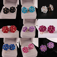 Women Elegant Rose Flower Crystal Rhinestone Ear Stud Earring Fashion Jewelry