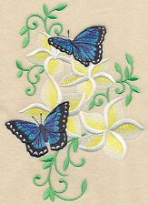 Frangipani and Butterflies Set Of 2 Hand Towels Embroidered by laura