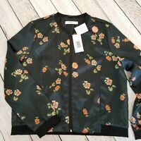 Just Fab Floral Zip Up Bomber Jacket Womens XXL Charcoal New with Defects