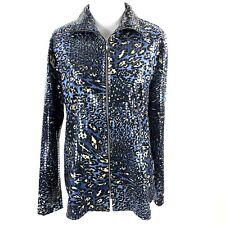 Exclusively Misook Full Zip Jacket Sz Small S Blue Animal Print Sequin