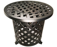 Round Patio End Table  With Ice Bucket Insert Nassau Outdoor Cast Aluminum