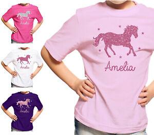 Personalised Horse Riding T-Shirt Girls Glitter School Pony Tshirt Top Kids