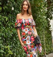 BNWT Forever New Olivia Fitted Floral Print Bardot Midi Dress UK 10 RRP £79