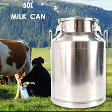 50l 1325 Gallon Stainless Steel Milk Can Wine Pail Bucket Tote Jug Oil Barrel