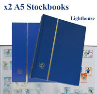 2 Stamp Collecting Stock book 6.5 x 9 Glassine Strips Rows 16 White Pages Deal