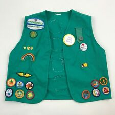 GIRL SCOUTS of America Vest Green BADGES and Pins Council Uniform