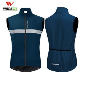 Thermal Fleece Cycling Vest Warm Jacket Reflective Waistcoat Bike Gilet Blue
