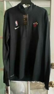 Men Miami Heat Nike Dri-Fit NBA Long Sleeve Shirt Black AV1751-010 Size M-TALL