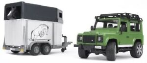 BRUDER #02592 Land Rover Defender Station Wagon with Horse Trailer and Horse