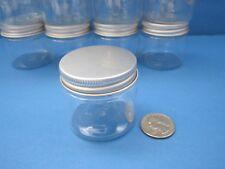 12 PET Plastic 2oz Clear Jars Silver Cap Cream Makeup Travel Crafts BPA Free