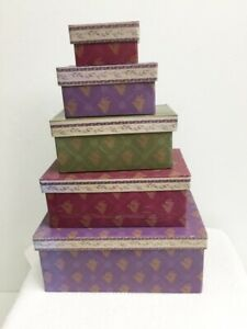 Nesting Boxes Set Of 5 Lavender Wine Green Decorative Storage Lacquered Board
