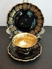 Lindner Echt Cobalt Gold Kueps Bavaria German Porcelain Cup and Saucer