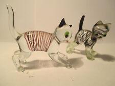 2 kleine Katzen Cat Glasfigur Tier Figur  Lauscha Thüringen,  6 und 5 cm   hoch