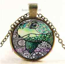 Vintage Sea Turtle Photo Cabochon Glass Bronze Chain Pendant Necklace#A22