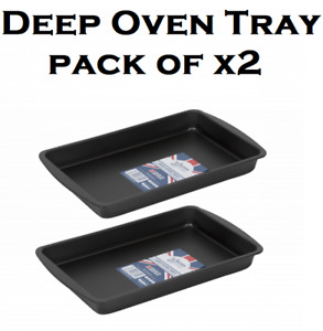 X2 Wham Non Stick Baking Tray Cooking Premium Bakeware Deep Oven Tray New 2021