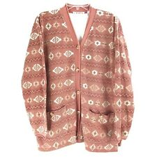 Chaus Sport Medium Cardigan Pink Sweater Long Sleeve Button Front Navajo Womens