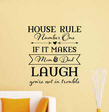 House Rules Sign Wall Decal Mom And Dad Nursery Funny Quote Vinyl Sticker 828