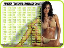 SEXY GIRL FRACTION TO DECIMAL CONV. TOOL BOX REFRIGERATOR FRIDGE MAGNET SNAP ON