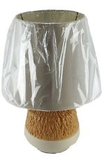 """Ceramic 13"""" Table Lamp and Shade Round Crackle Finish Night Stand Counter U/L"""