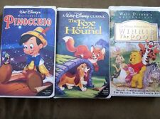 Lot 3 Walt Disney Clasic VCR Movies Pinocchio Fox and the Hound Winnie The Pooh