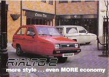 Reliant Rialto 2 Original UK Sales Brochure 2 & 3 door & GLS & Van not dated