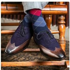 Handmade Men's Genuine Brown Leather & Navy Blue Suede Oxford Brogues Shoes
