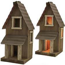 WOOD SALTBOX House PORCH HOUSE Distressed Wood Metal Roof RUSTIC NIGHT LIGHT