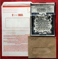1945 US Vintage WWII Graphic Art V-Mail Letter