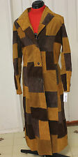 WILSON LEATHER Pelle Studio Full Length Trench Coat Fitted Patch Work Womens M