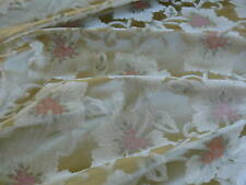 "100% SILK LAMPAS TRI-LEAF FLOWER ""LADYSLIPPER"" GOLD CREAM PINK BTY"