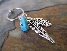 """Turquoise Two Feathers Cartilage Piercing Captive Tragus Earring 16G 1/2"""" 1.2mm"""