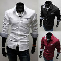 New Luxury Shirts Business Mens Casual Formal Slim Fit Dress Shirt Tops S M L XL