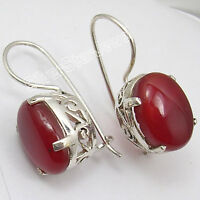 925 Solid Silver RED FIRE CABOCHON CARNELIAN GORGEOUS CELTIC Earrings 1""