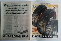 1929 Montgomery Ward no finer tires than Riverside vintage two-page ad