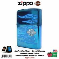 Zippo Ghost Lighter, Flames, Sapphire Blue, HD Harley-Davidson #20711