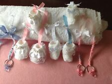 Hand Knitted Baby Shower, Christening Favours or Dolls Pram Charms Christmas