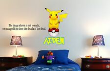 POKEMON PIKACHU Personalized Wall Decal (Removable and Replaceable)