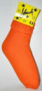 Slouch Socks Women's Scrunch Hooters Socks Orange Size 9-11 NWT Made In USA!!