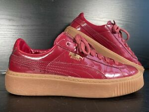 PUMA BASKET Patent Burgandy Trainers - Lace Up Casual Shoes Size 6 UK