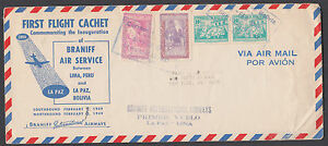 Bolivia Sc 318,328,C120 on 1949 Braniff First Flight Cover with original content