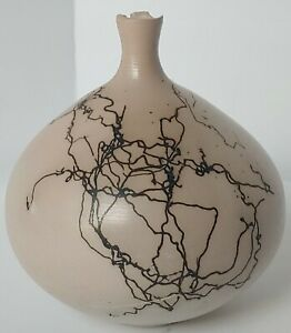 Vintage Horse Hair Pottery Vase/Decorative Native Navajo Pottery/ Artist Signed