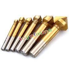 6pc Titanium 3F 90° HSS Chamfer Cutter End Mill Milling Cutting Tool Metal Drill