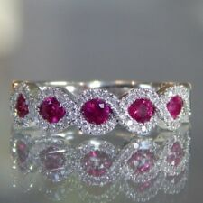 Fashion Ruby Gemstone White Gold Women Jewelry Ring Wedding Engagement Size 6-10