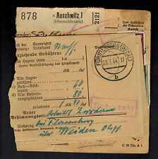 1944 Germany Auschwitz Concentration Camp Parcel Cover Forwarded twice KZ