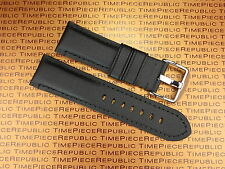 New 24mm PAM Black Leather Kevlar Strap TOILE Fabric Tang Tongue Watch Band 24