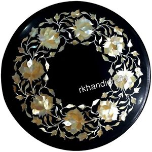 14 Inches Round Shape Stone Table Top Marble Black Coffee Table with Inlay Art
