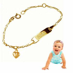 Babyarmband mit Herz- Echt Silber925, Oberfläche gelbgold vergoldet -Gravur-2